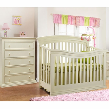 Sorelle Verona 2 Piece Crib Set in French White - Crib & 5 Drawer Dresser