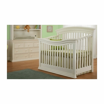 Sorelle Verona 2 Piece Crib Set in French White - Crib & Double Dresser