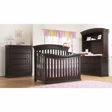 Sorelle Verona 3 Piece Crib Set in Espresso - Crib, 5 Drawer Dresser &Double Dresser