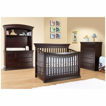 Sorelle Verona 3 Piece Crib Set in Espresso - Flat Top Crib, 5 Drawer Dresser & Double Dresser