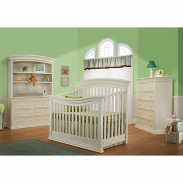 Sorelle Verona 3 Piece Crib Set in French White - Crib, 5 Drawer Dresser & Double Dresser