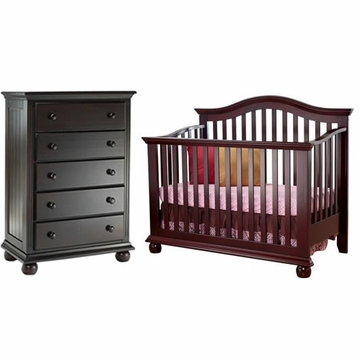 Sorelle Vista 2 Piece Nursery Set in Espresso - Crib & 5 Drawer Dresser