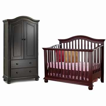 Sorelle Vista 2 Piece Nursery Set in Espresso - Crib & Armoire