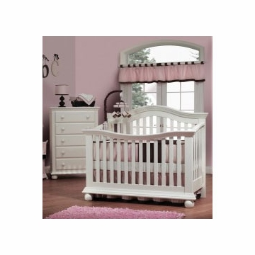 Sorelle Vista 2 Piece Nursery Set in French White - Couture Crib & 5 Drawer Dresser