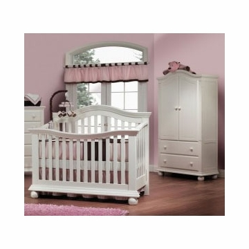 Sorelle Vista 2 Piece Nursery Set in French White - Couture Crib & Armoire
