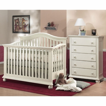 Sorelle Vista 2 Piece Nursery Set in French White - Crib & 5 Drawer Dresser
