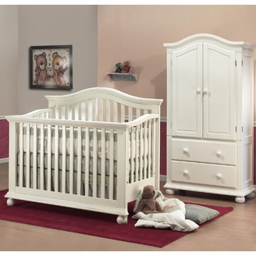 Sorelle Vista 2 Piece Nursery Set in French White - Crib & Armoire