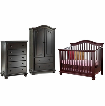 Sorelle Vista 3 Piece Nursery Set in Espresso - Crib, 5 Drawer Dresser & Armoire