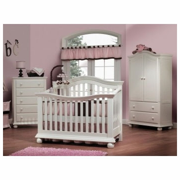 Sorelle Vista 3 Piece Nursery Set in French White - Couture Crib, 5 Drawer Dresser & Armoire