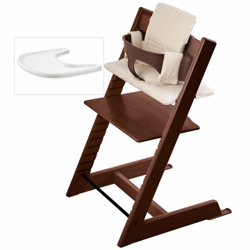 Stokke Tripp Trapp Bundle - Walnut / Beige Stripe