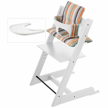 Stokke Tripp Trapp Bundle - White / Signature Stripe