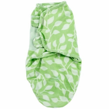 Summer Infant Microfleece SwaddleMe, Small/Med - Green Leaves