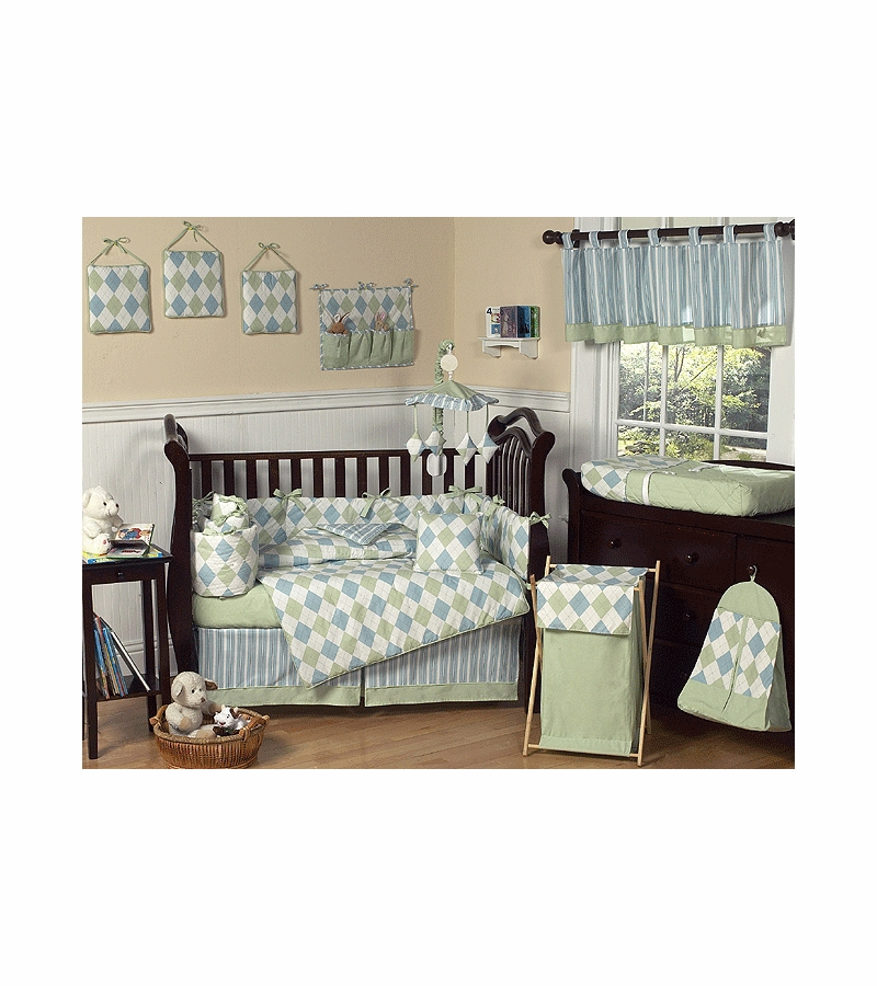 Blue And Green Argyle Baby Bedding