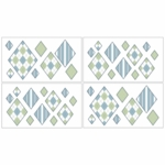 Sweet JoJo Designs Argyle Green & Blue Wall Decals