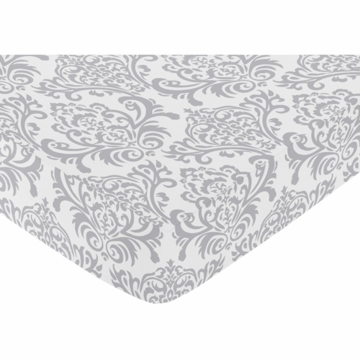 Sweet JoJo Designs Avery Gray & Blue Crib Sheet in Damask Print