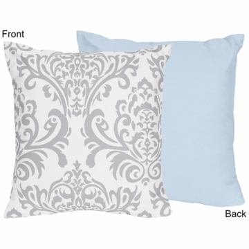 Sweet JoJo Designs Avery Gray & Blue Decorative Throw Pillow