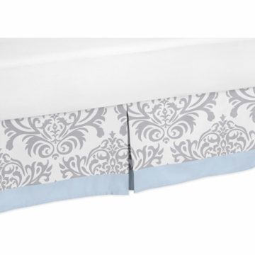 Sweet JoJo Designs Avery Gray & Blue Toddler Bed Skirt