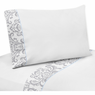 Sweet JoJo Designs Avery Gray & Blue Twin Sheet Set