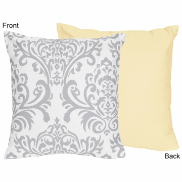 Sweet JoJo Designs Avery Gray & Yellow Decorative Throw Pillow