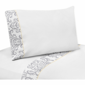 Sweet JoJo Designs Avery Gray & Yellow Twin Sheet Set