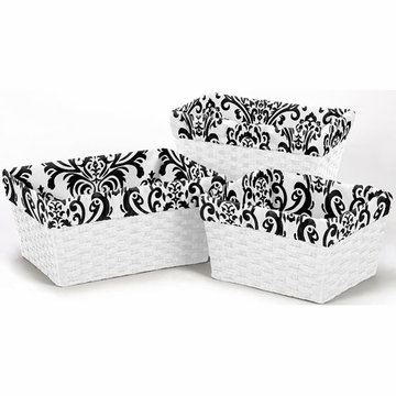 Sweet JoJo Designs Black & White Basket Liners - Set of 3