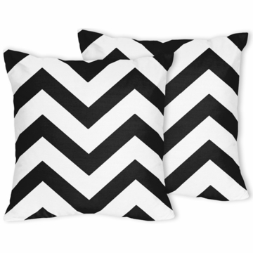 Sweet JoJo Designs Black & White Chevron Decorative Throw Pillows - Set of 2