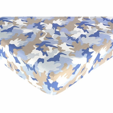 Sweet JoJo Designs Camo Blue Crib Sheet