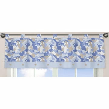 Sweet JoJo Designs Camo Blue Window Valance