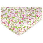 Sweet JoJo Designs Circles Pink Crib Sheet in Circles Print