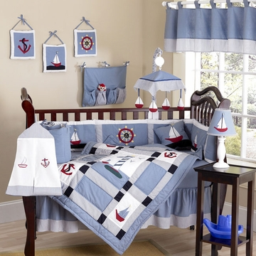 Sweet JoJo Designs Come Sail Away 9 Piece Crib Bedding Set