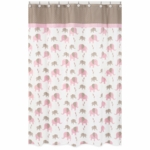 Sweet JoJo Designs Elephant Pink Shower Curtain