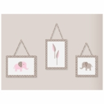 Sweet JoJo Designs Elephant Pink Wall Hangings