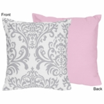 Sweet JoJo Designs Elizabeth Grey & Pink Decorative Throw Pillow