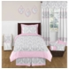 Sweet JoJo Designs Elizabeth Grey & Pink Twin Bedding Set
