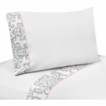 Sweet JoJo Designs Elizabeth Grey & Pink Twin Sheet Set