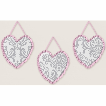 Sweet JoJo Designs Elizabeth Grey & Pink Wall Hangings