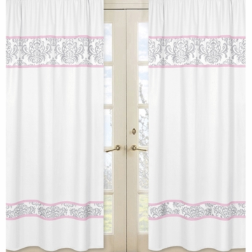 Sweet JoJo Designs Elizabeth Grey & Pink Window Panels - Set of 2