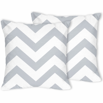 Sweet JoJo Designs Gray & White Chevron Decorative Throw Pillows - Set of 2