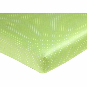 Sweet JoJo Designs Hooty Turquoise & Lime Crib Sheet - Lime Mini Dot