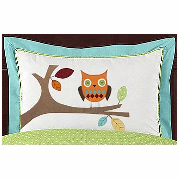 Sweet JoJo Designs Hooty Turquoise & Lime Pillow Sham
