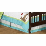 Sweet JoJo Designs Hooty Turquoise & Lime Toddler Bed Skirt