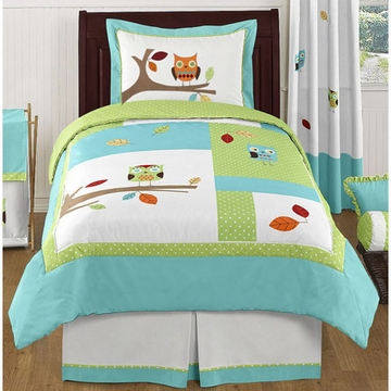 Sweet JoJo Designs Hooty Turquoise & Lime Twin Bedding Set