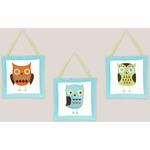 Sweet JoJo Designs Hooty Turquoise & Lime Wall Hangings
