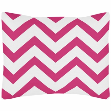 Sweet JoJo Designs Hot Pink & White Chevron Pillow Sham