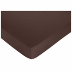Sweet JoJo Designs Hotel Blue & Brown Crib Sheet in Solid Brown