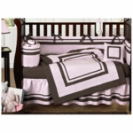 Sweet JoJo Designs Hotel Pink & Brown 9 Piece Crib Bedding Set