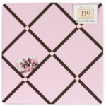 Sweet JoJo Designs Hotel Pink & Brown Fabric Memo Board