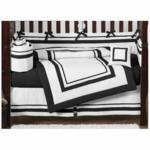 Sweet JoJo Designs Hotel White & Black 9 Piece Crib Bedding Set
