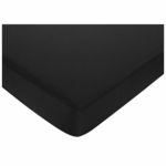 Sweet JoJo Designs Hotel White & Black Crib Sheet in Black