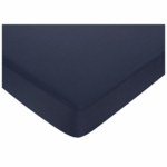 Sweet JoJo Designs Hotel White & Navy Crib Sheet in Navy